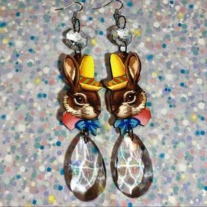 Some Bunny loves you! OOAK rabbit crystal earrings